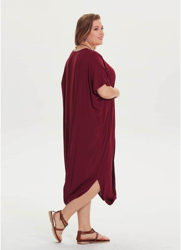 Otantik Kayık Yaka Büyük Beden Bordo Elbise