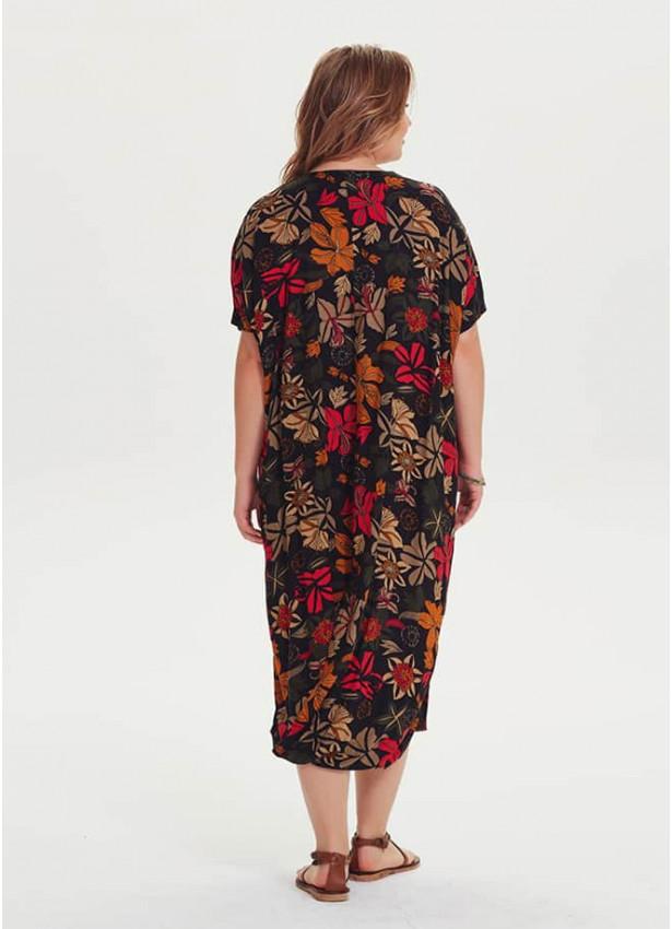 Çiçekli Etek Ucu Detaylı Büyük Beden Siyah Elbise