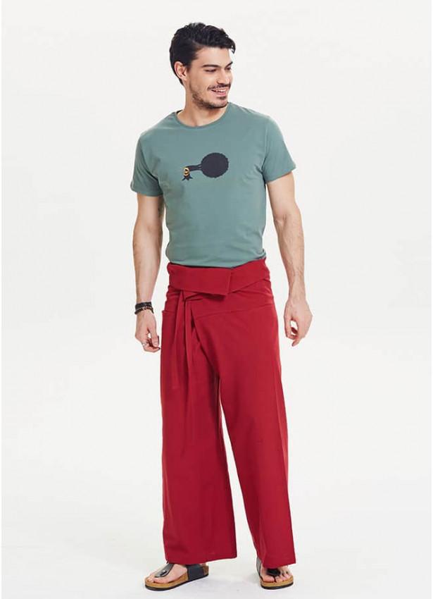 Beli Bağlamalı Bol Kesim Kırmızı Balıkçı Pantolon