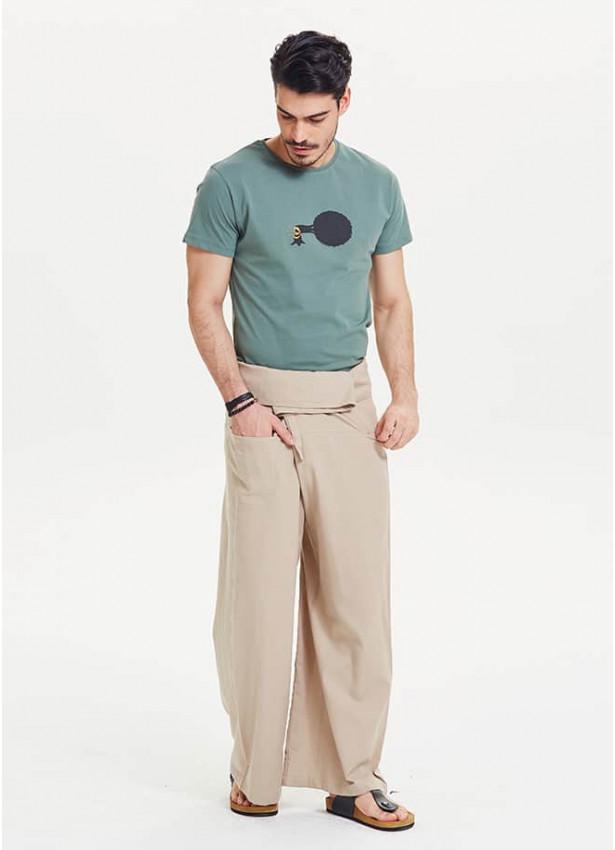 Beli Bağlamalı Bol Kesim Krem Balıkçı Pantolon