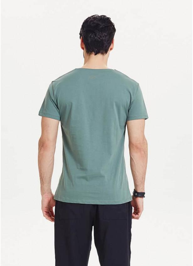 Ayı Figür Baskılı Kısa Kollu Erkek Yeşil T-Shirt