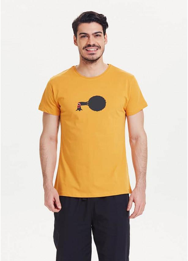 Ağaç Baskılı Kısa Kollu Erkek Sarı T-Shirt