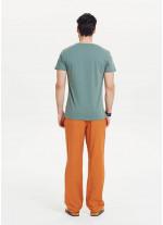 Ağaç Baskılı Kısa Kollu Erkek Yeşil T-Shirt
