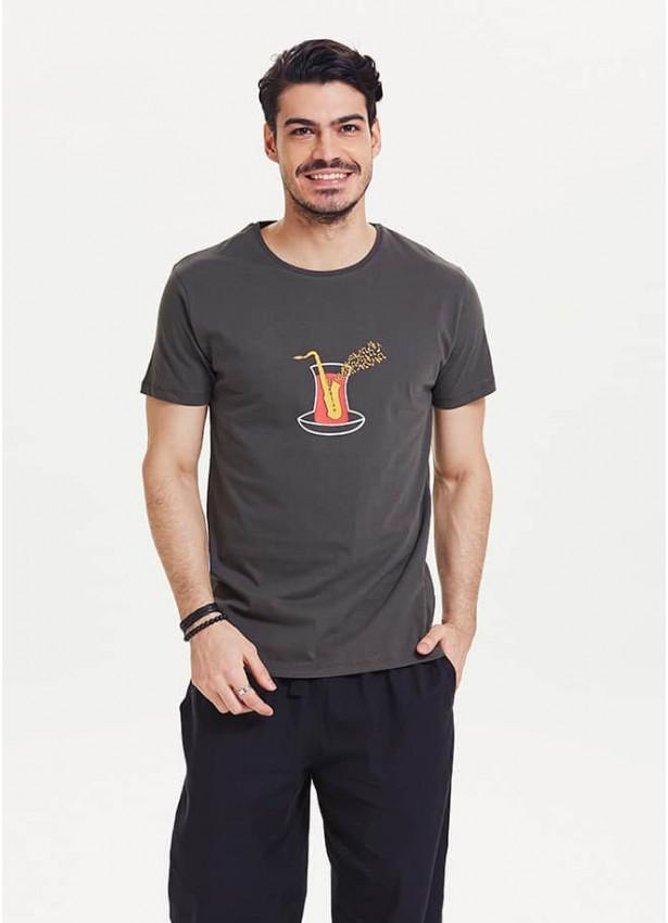 Saksafon Baskılı Bisiklet Yaka Füme Erkek T-Shirt