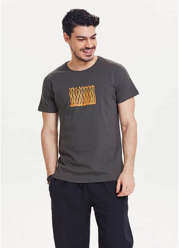 El Baskılı Kısa Kollu Erkek Füme T-Shirt