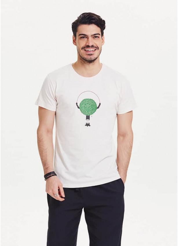 Ağaç Figürlü Kısa Kollu Beyaz Erkek T-Shirt