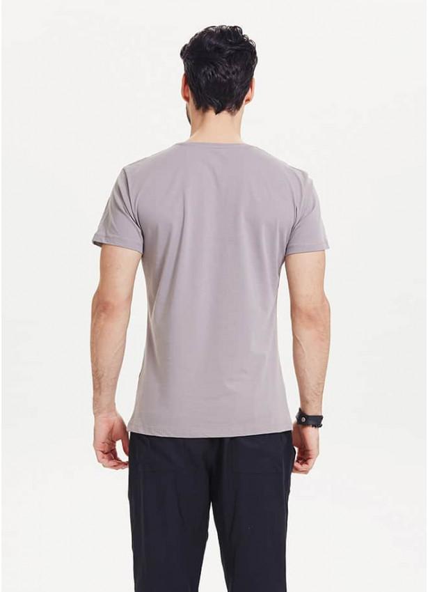 Otantik Ağaç Figür Baskılı Erkek Gri T-Shirt