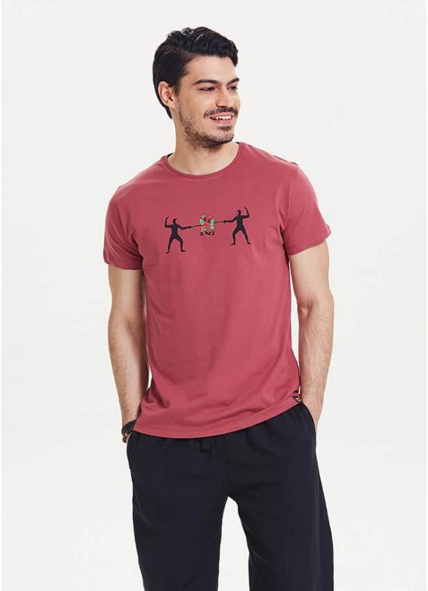 Eskrim Baskılı Kısa Kol Bordo Erkek T-Shirt