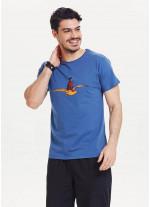 Martı Baskılı Erkek Mavi T-Shirt