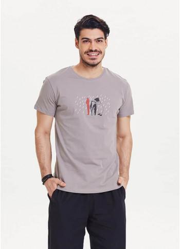 Baskılı Bisiklet Yaka Kısa Kollu Gri Erkek T-Shirt