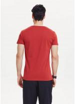 Kedi Baskılı Kısa Kollu Kırmızı Erkek T-Shirt