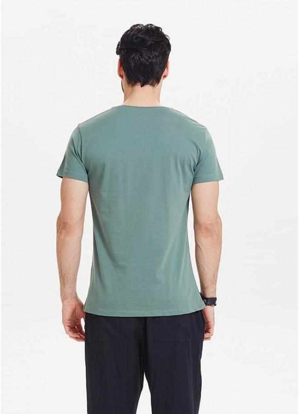 Kedi Baskılı Kısa Kollu Erkek Yeşil T-Shirt