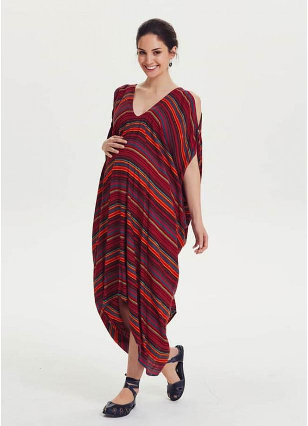 Kayık Yaka Omuz Detaylı Rahat Kesim Hamile Elbise