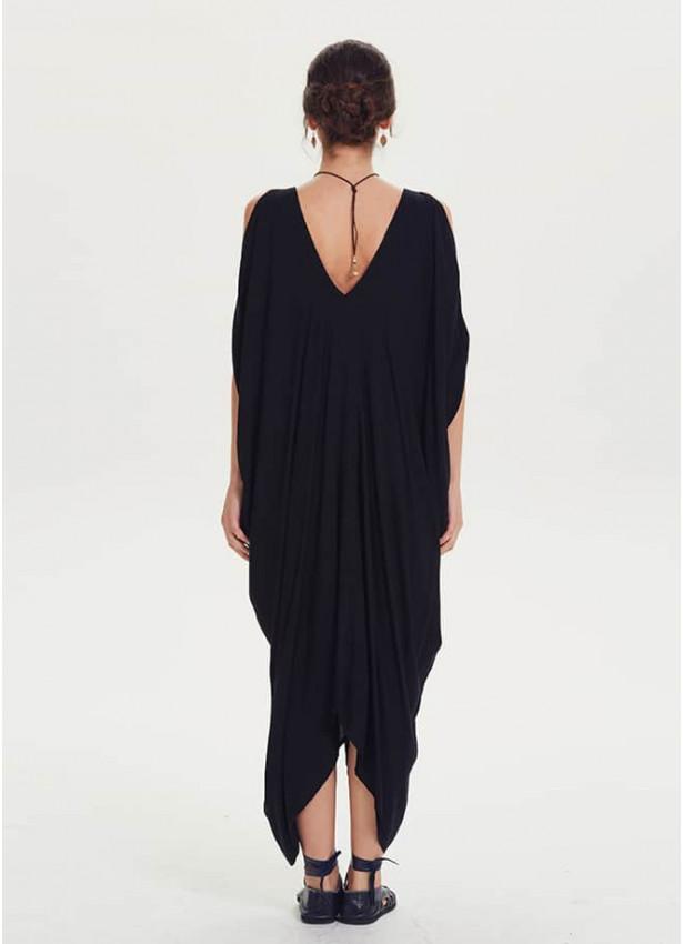 Kayık Yaka Omuz Dekolteli Siyah Hamile Elbise