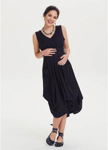 Balon Etekli Beli Bağlamalı Hamile Elbise
