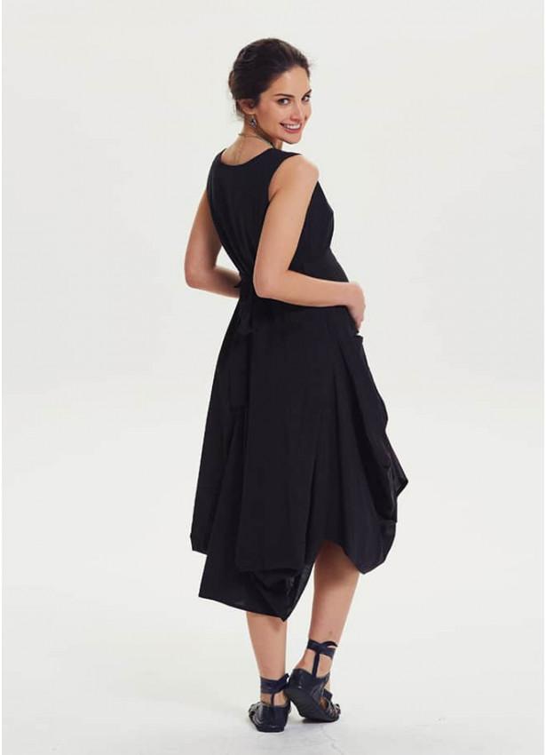 Balon Etekli Belden Bağlamalı Siyah Hamile Elbise