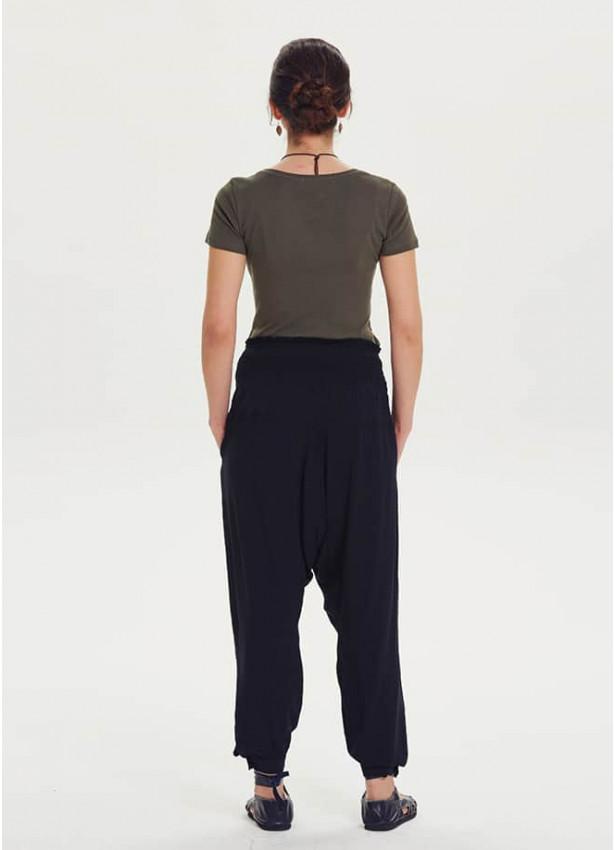 Etnik Desen Gipe Bel Siyah Hamile Şalvar Pantolon
