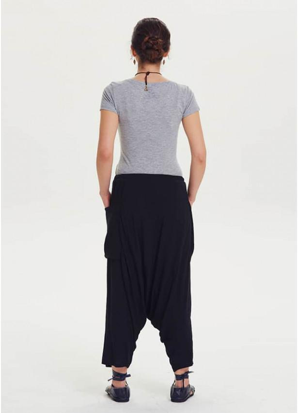 Bohem Kapri Cepli Siyah Hamile Şalvar Pantolon