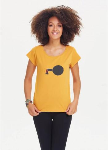 Ağaç Baskılı Tasarım Kısa Kol Kadın Sarı T-Shirt