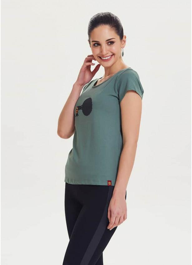 Ağaç Baskılı Tasarım Kadın Yeşil T-Shirt