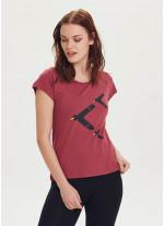 Karga Baskılı Kadın Tasarım Bordo T-Shirt