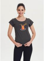Saksafon Baskılı Tasarım Kadın Füme T-Shirt