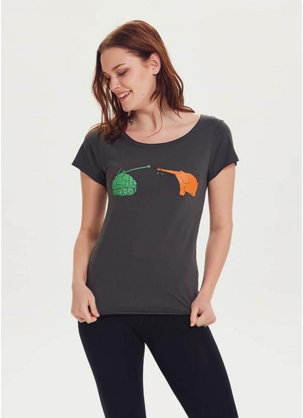 Fil Baskılı Tasarım Kısa Kol Kadın Füme T-Shirt