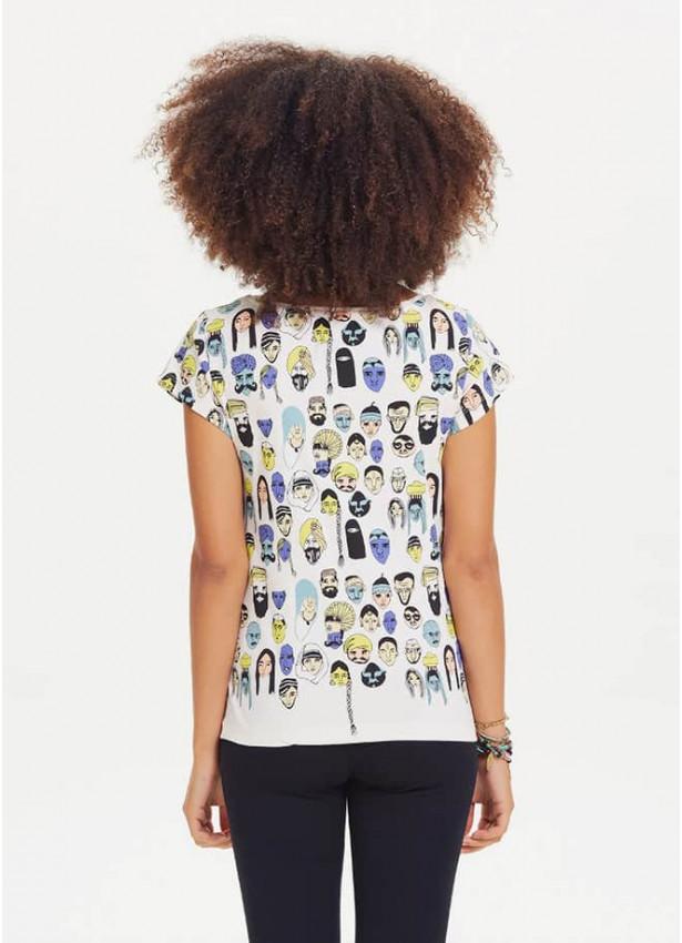Renkli Baskılı Kadın Tasarım Beyaz T-Shirt