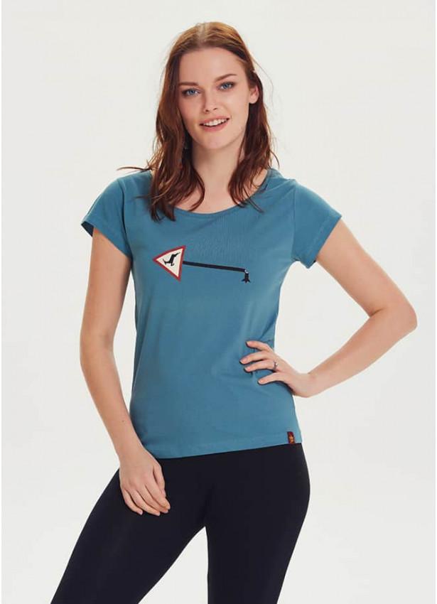 Geyik Baskılı Tasarım Kadın Mavi T-Shirt