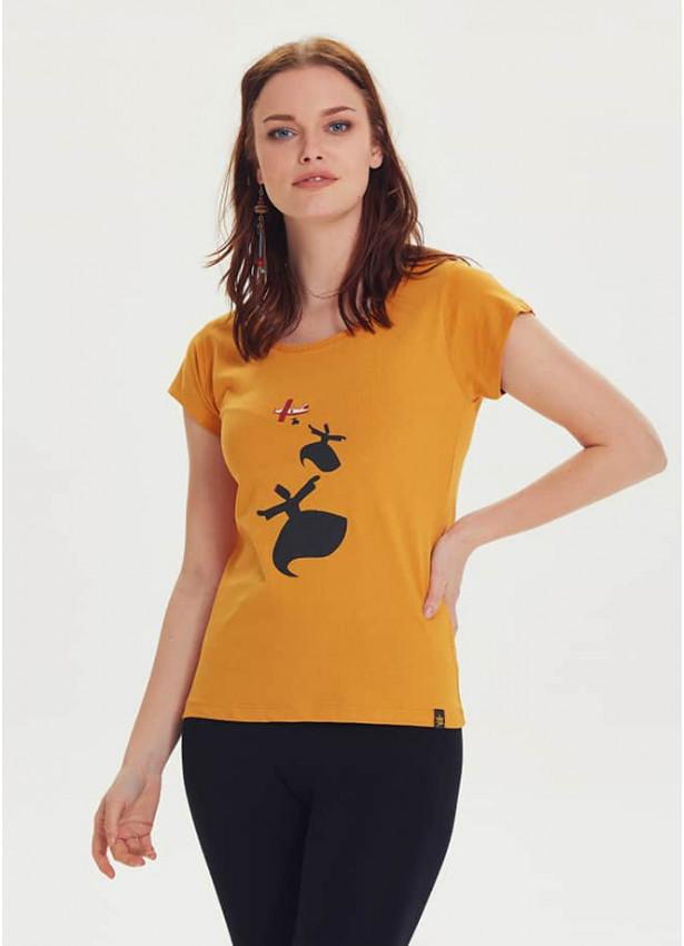 Mevlana Baskılı Tasarım Kadın Hardal T-Shirt
