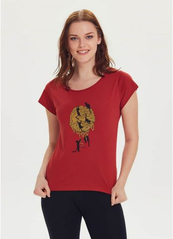 Kedi Baskılı Tasarım Kadın Bordo T-Shirt