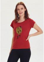 Kedi Baskılı Tasarım Kadın Kırmızı T-Shirt