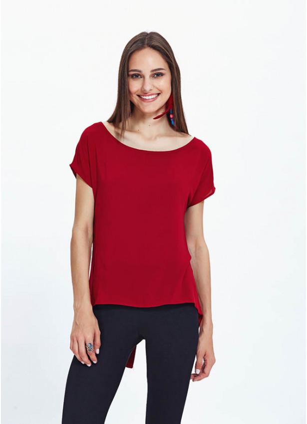 Kayık Yaka Düğme Detaylı Salaş Kırmızı Bluz