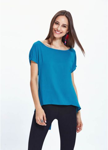 Kayık Yaka Önü Kısa Arkası Uzun Mavi Bluz