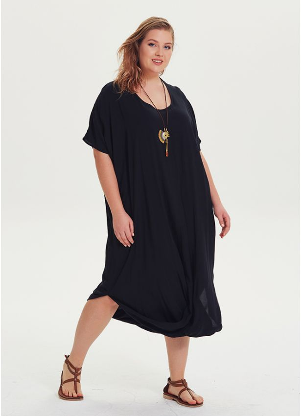 Otantik Etek Ucu Detaylı Büyük Beden Siyah Elbise