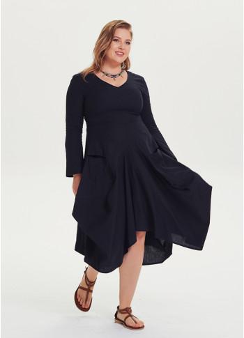 V Yaka Cepli Uzun Kollu Büyük Beden Siyah Elbise