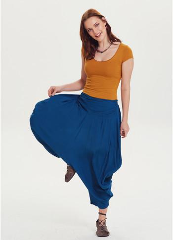 Drape Bel Dökümlü İndigo Kadın Şalvar Pantolon