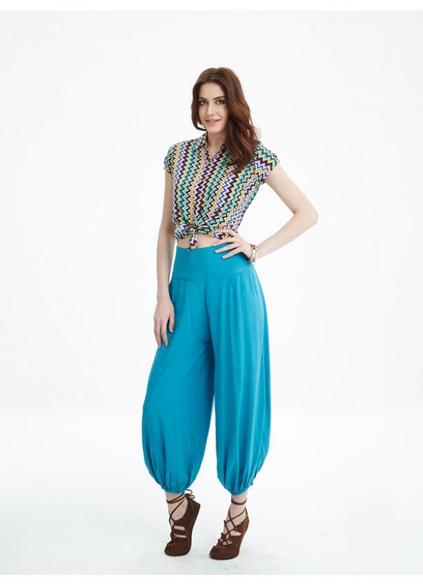 Bohem Tarz Elastik Bel Şalvar Mavi Yoga Pantolon