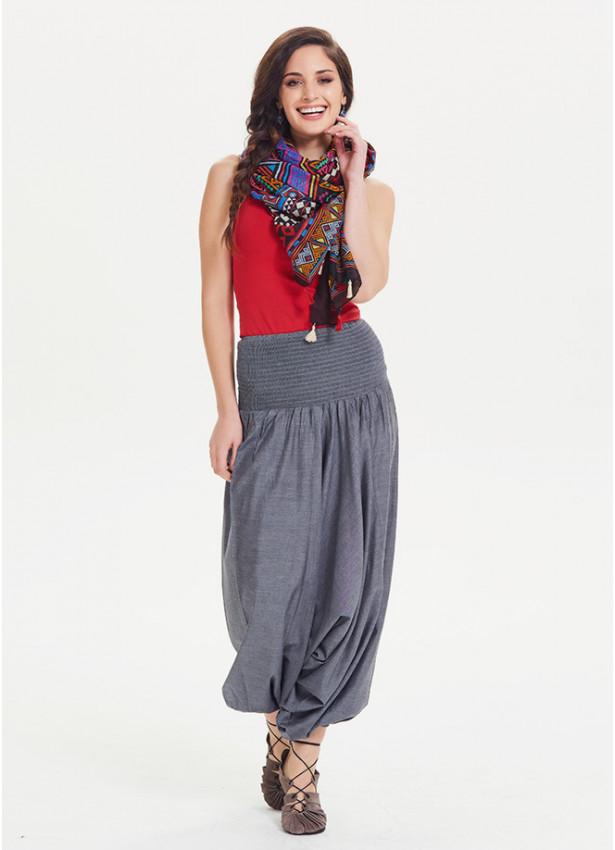 Gipe Bel Lastikli Gri Kadın Şalvar Pantolon