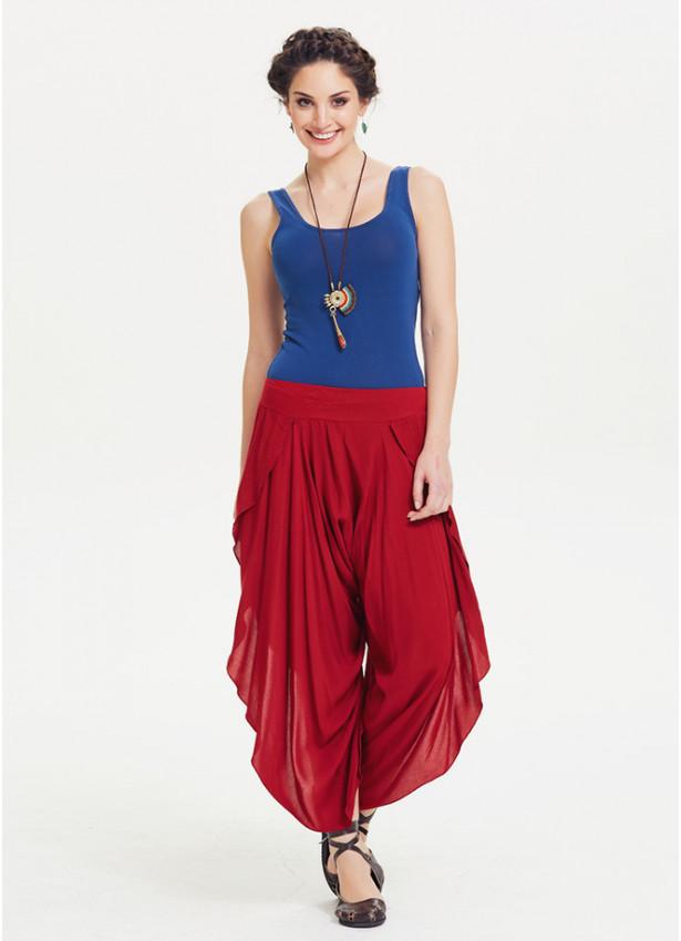 Ribana Bel Yan Yırtmaçlı Kırmızı Şalvar Pantolon