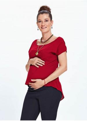 Asimetrik Kesim Kayık Yaka Kırmızı Hamile Bluz