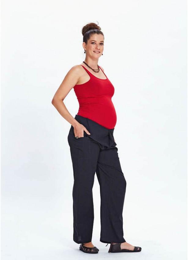Rahat Kesim Beli Bağlamalı Siyah Hamile Pantolon