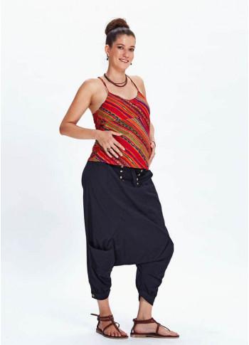 Beli Lastikli Düğmeli Siyah Şalvar Hamile Pantolon