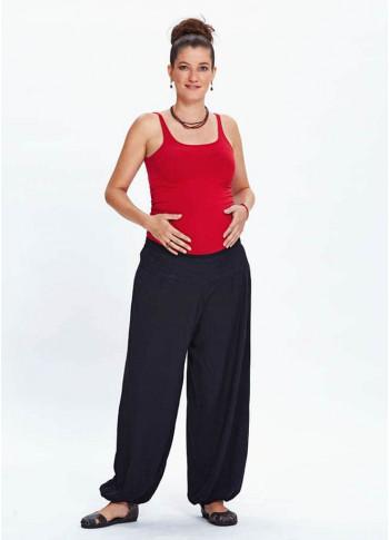 Beli Lastikli Dökümlü Siyah Şalvar Hamile Pantolon