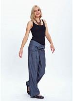 Beli Bağlamalı Rahat Kadın Gri Balıkçı Pantolon