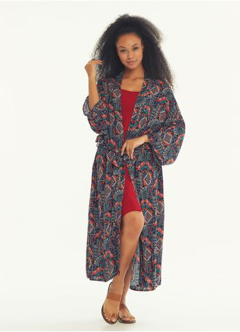 Lacivert Desenli Kimono