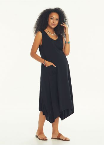 Arkadan Düğmeli  Siyah Kolsuz Hamile Elbise