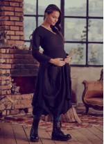 Otantik V Yaka Uzun Kollu Siyah Hamile Elbise