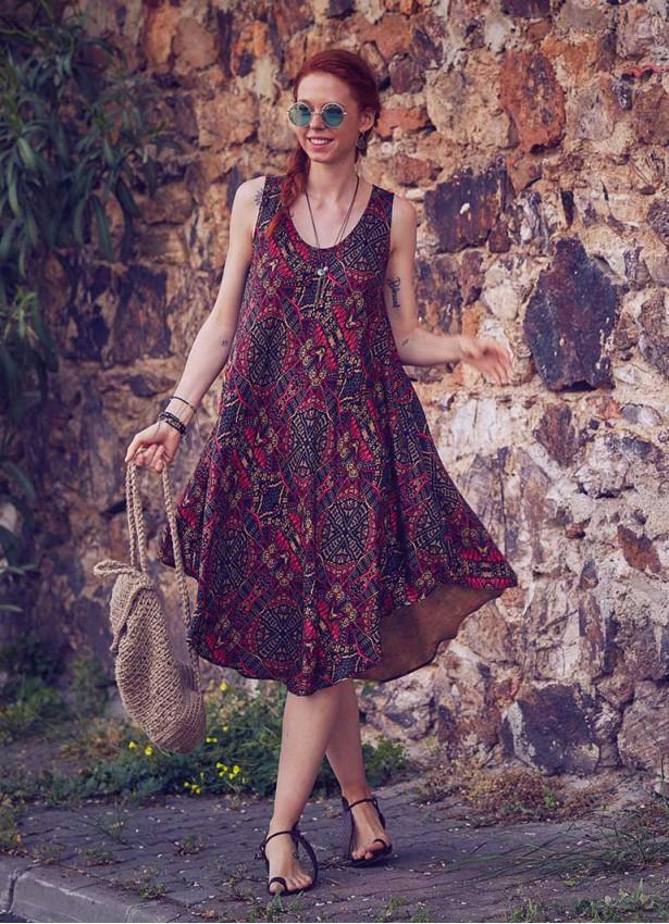 Bohem Tarz Etnik Kayık Yaka Bol Kesim Kolsuz Günlük Elbise