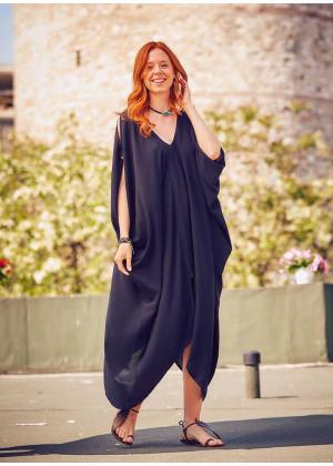 Bohem Tarz Kayık Yaka Sırt Dekolteli Yazlık Elbise